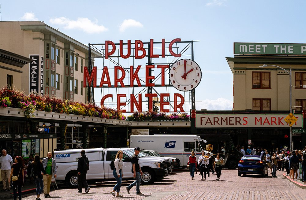 the pike market center sign seattle